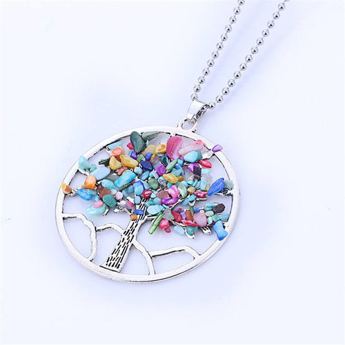 Necklaces - New Natural Rainbow Stone Tree Of Life Pendant Necklace