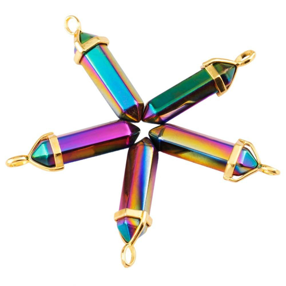 Necklaces - Titanium Quartz Point Bead Golden Pendant Necklace