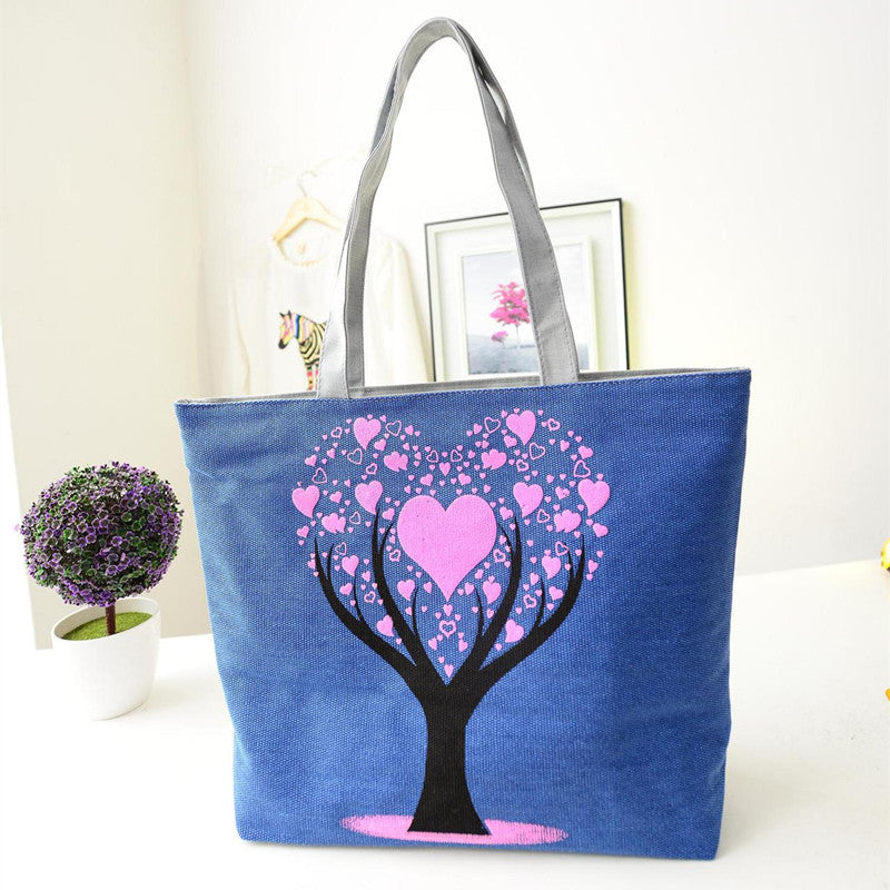 Tree of Love Heart Printed Shoulder Tote Bag