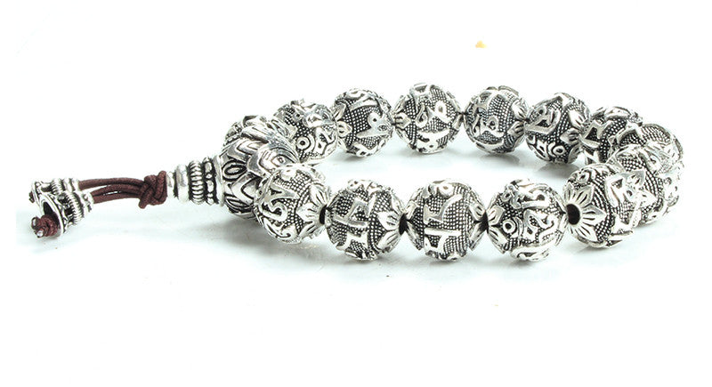 SIX WORDS MANTRAS TIBETAN SILVER BRACELET