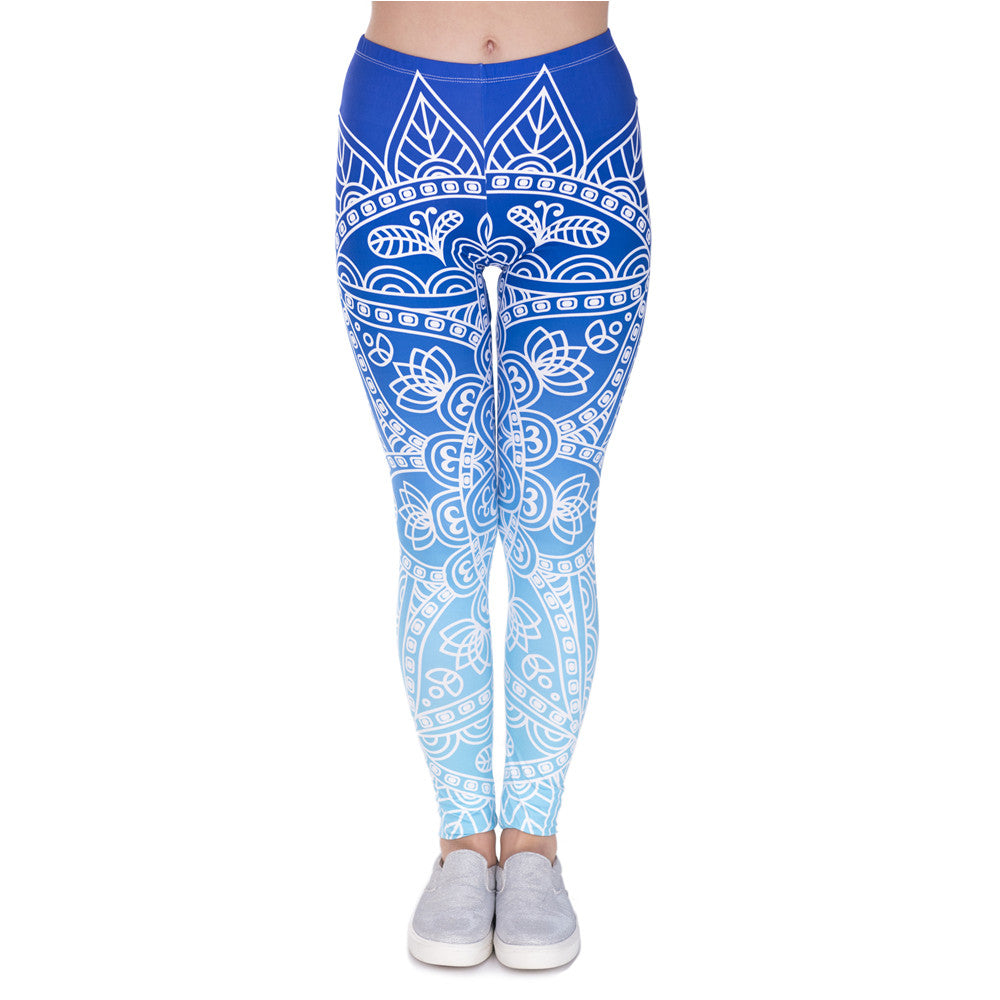 Blue Ombre Mandala Yoga Leggings