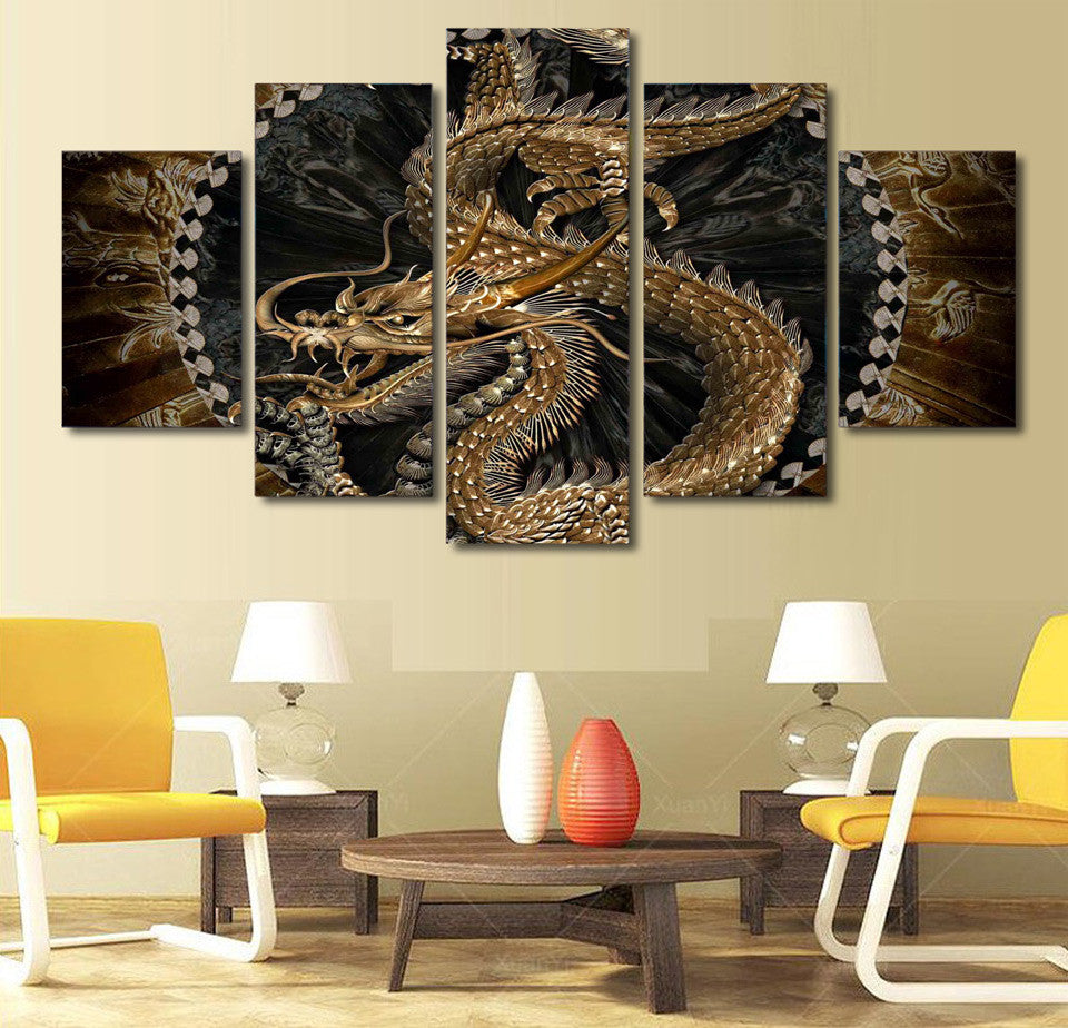 Limited Edition 5 Pieces Dragon Canvas Art