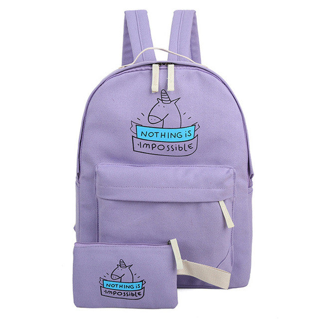 Cute Unicorn Backpack Pouch Set