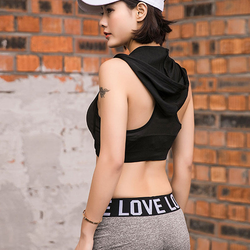 Tank Top Vest Hooded Sports Bra