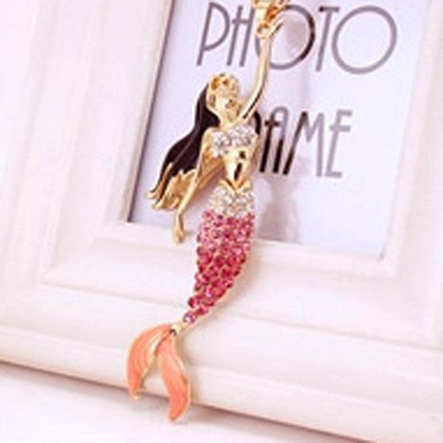 Elegant Mermaid with Rhinestones Pendant Necklace