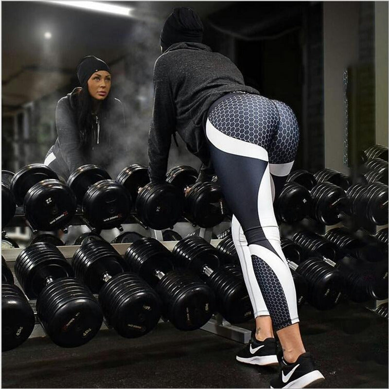 Block Pattern Fitness Leggings