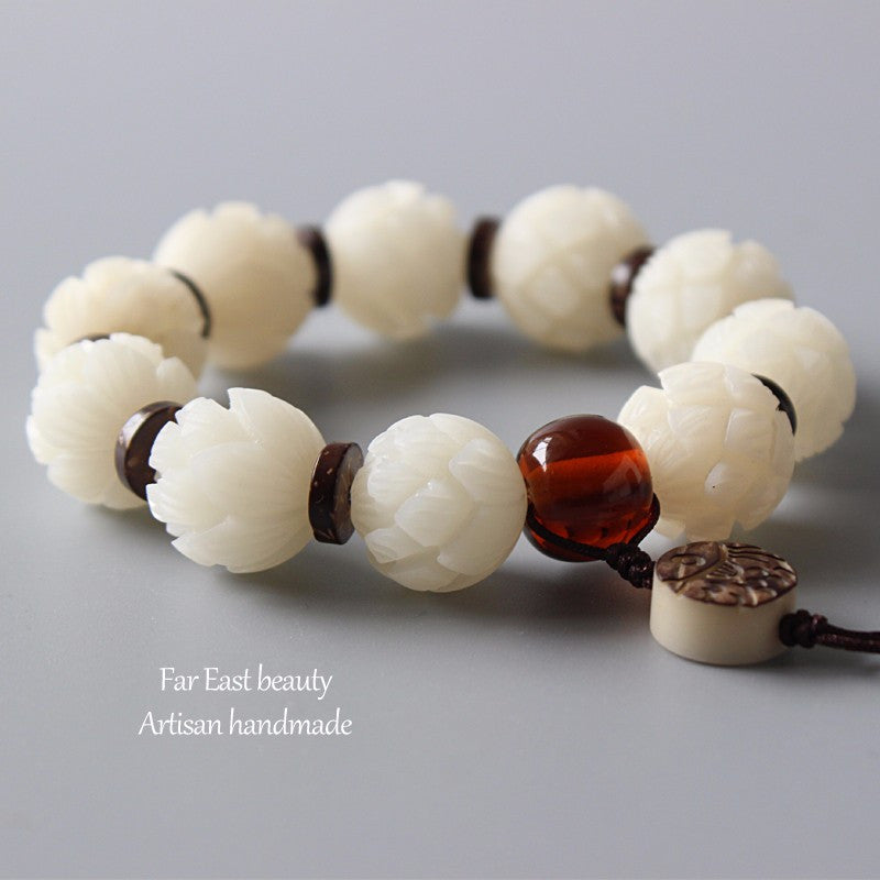 HAND CARVED LOTUS FLOWER BEADS BODHI BRACELET