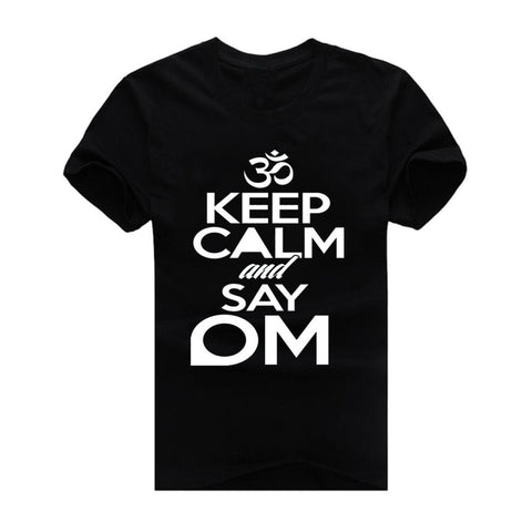 T-Shirts - Keep Calm And Say OM Cotton T-Shirt For Men