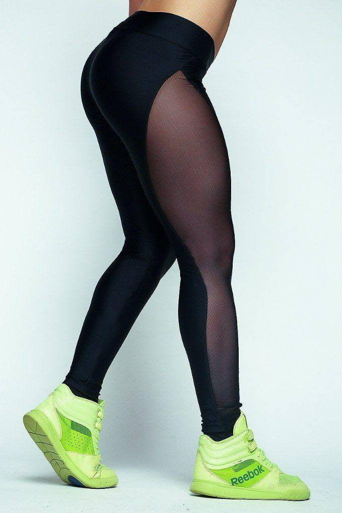 Women's Apparel - Diva Black Mesh Leggings