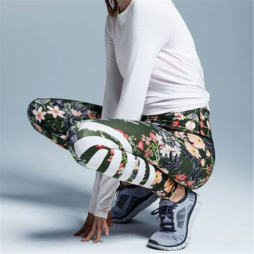 Women's Apparel - Floral High Waisted Compression Yoga Pants