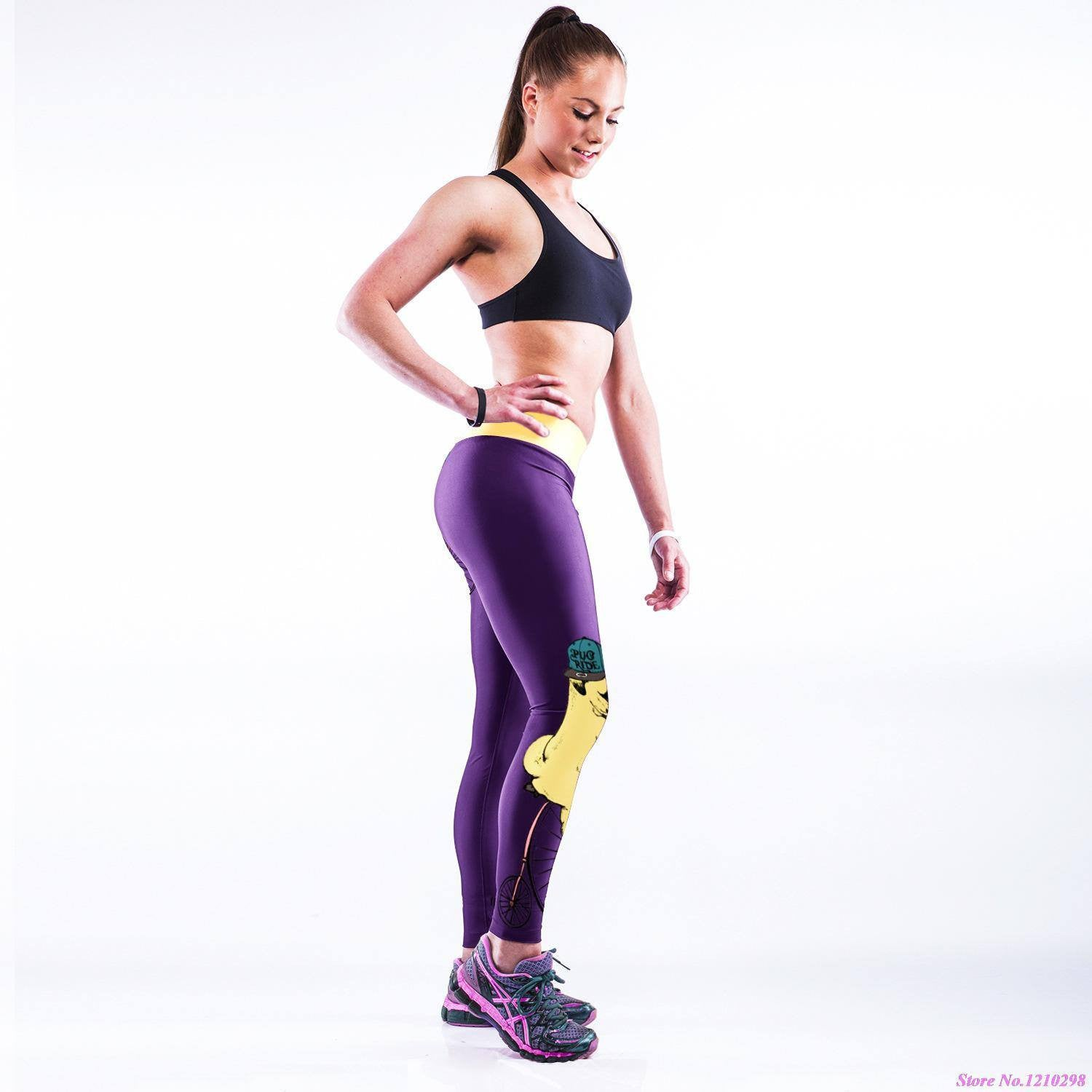 Women's Apparel - Purple Cute Pug Yoga Pants Leggings