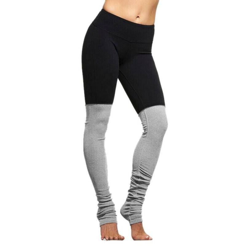 Women's Apparel - Two Tone Patchwork Socked Leggings