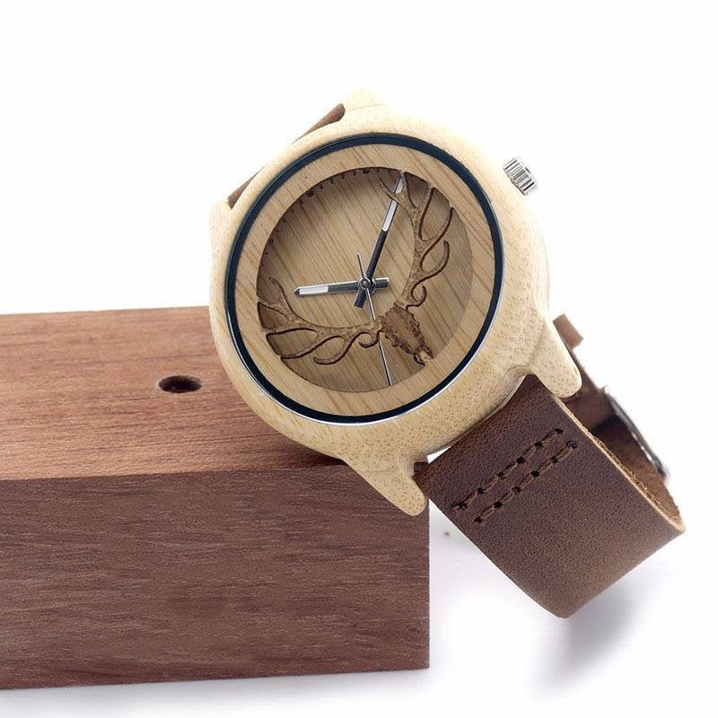 Yoga Accessories - Deer Head Ebony Wood Watch