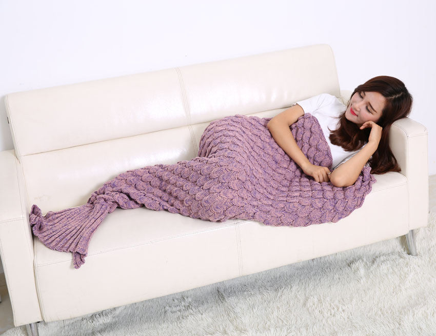 Yoga Accessories - Handmade Knitted Mermaid Tail Blanket