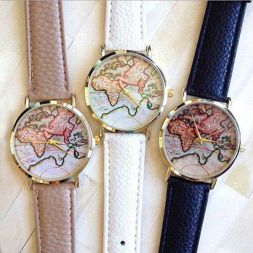Yoga Accessories - Vintage Wanderlust Map Watch