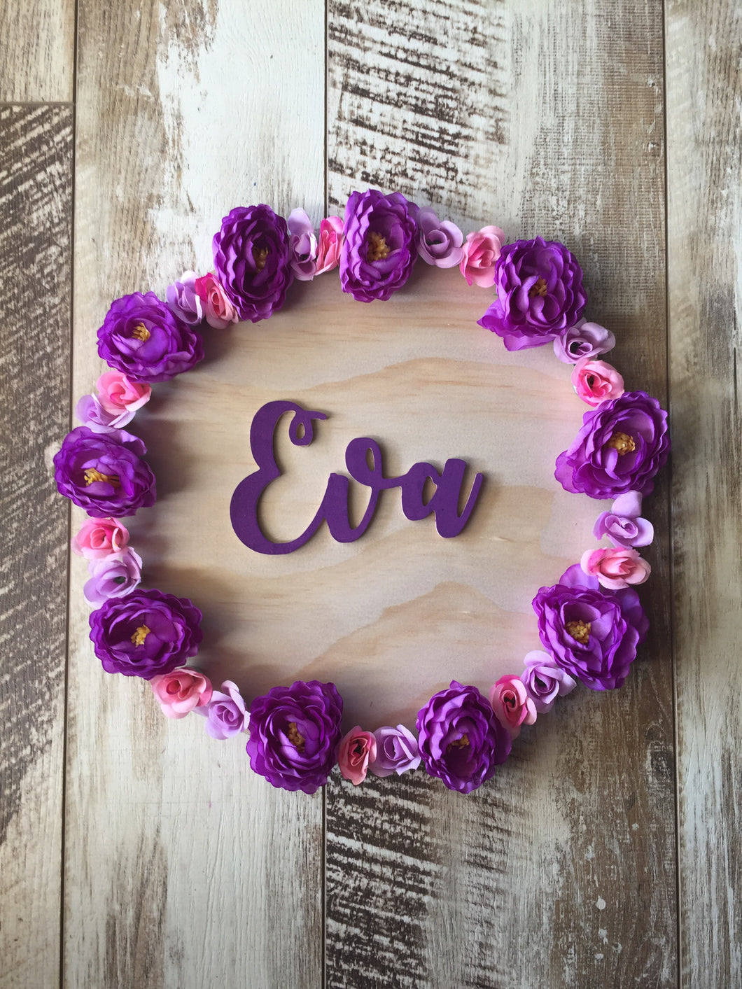 Floral Wreath Name Plaque - Wanderlust Collective