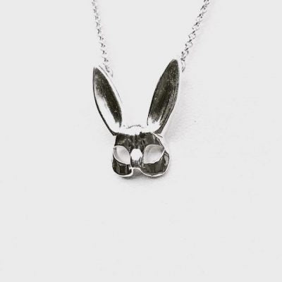 bunny rabbit mask necklace sterling silver