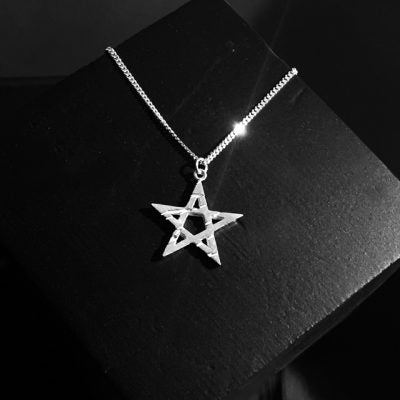 pentagram star pendant unisex sterling silver goth jewelry