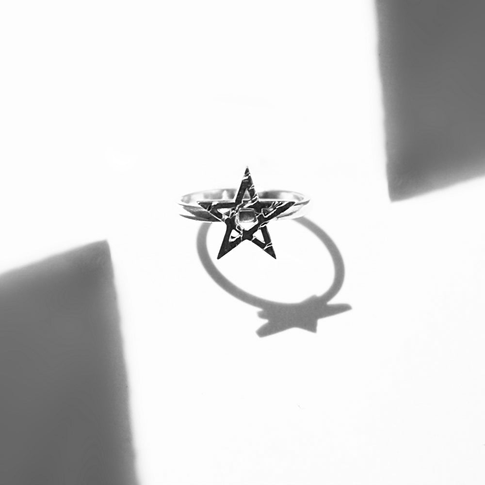 pentagram star ring sterling silver handmade goth jewelry