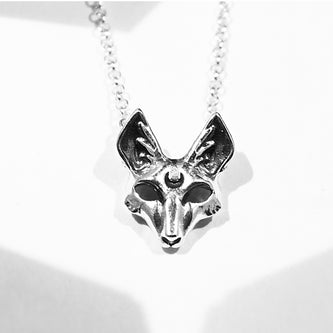 fox pendant with moon sterling silver goth jewelry