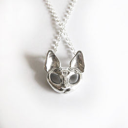 kitty cat sphynx necklace with moon sterling silver goth jewelry