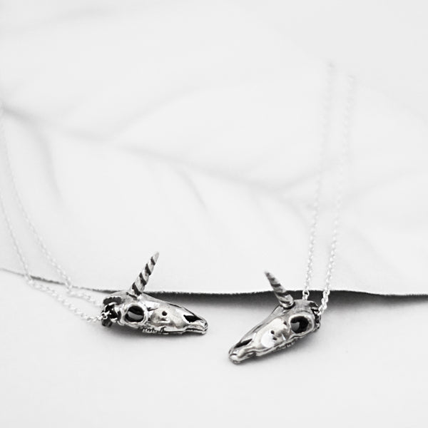 unicorn skull necklace goth jewelry handmade sterling silver