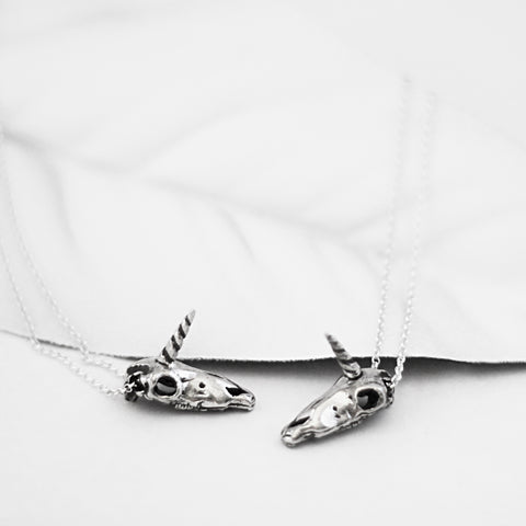 unicorn skull necklace edgy jewelry handmade sterling silver