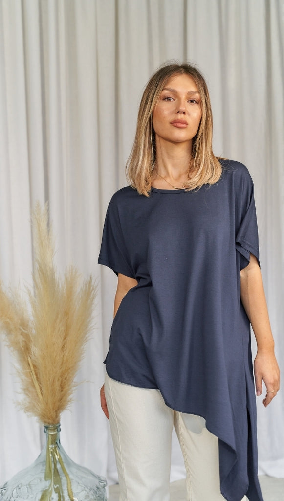 MIA KNOTTED SIDE TOP - NAVY