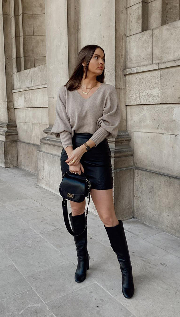 CROPPED SIENA SWEATER - CAMEL