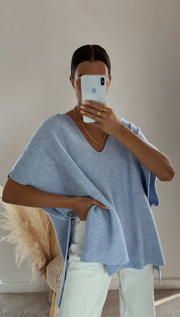 MAYA HOODED PONCHO - SKY