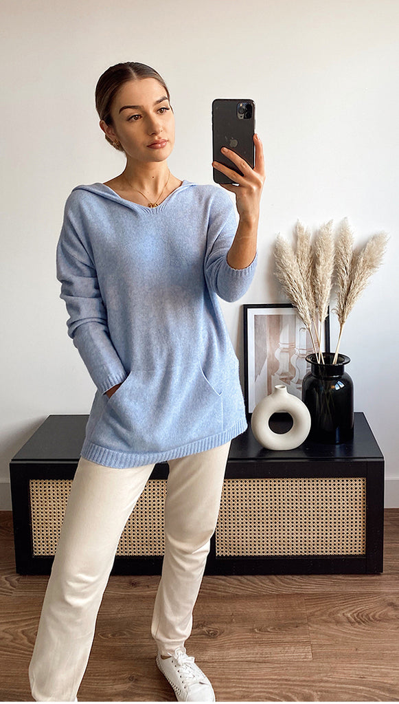 SUNDAY HOODED TOP - BLUE