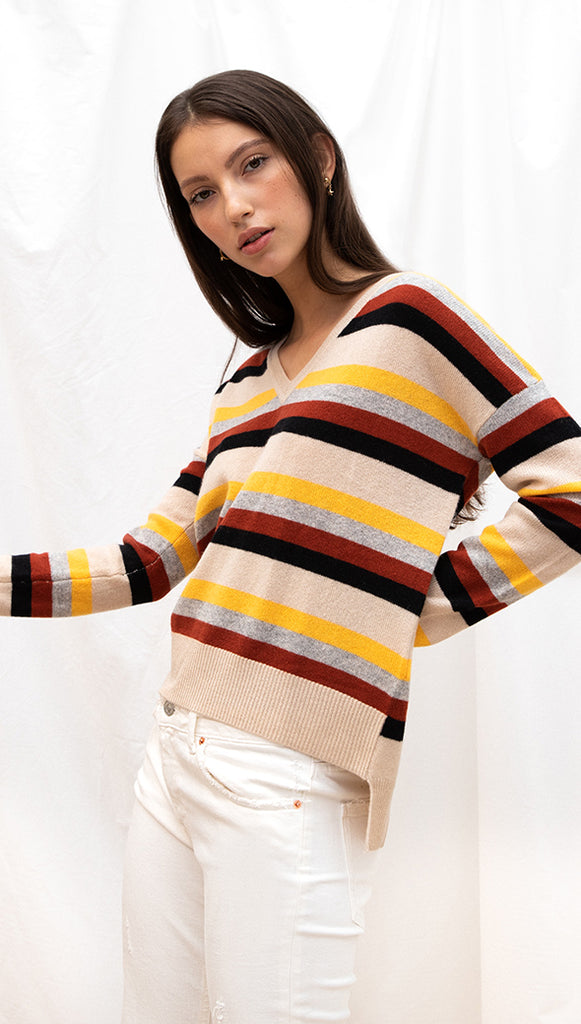 CLOVE CASHMERE SWEATER - COPPER MULTISTRIPE