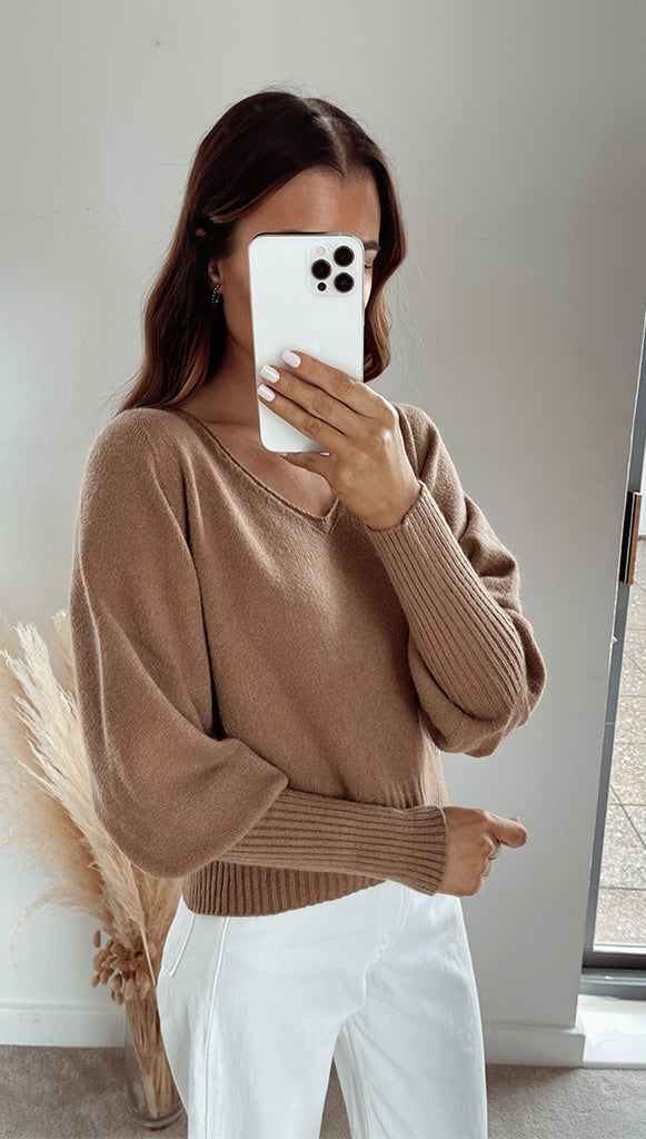 CROPPED SIENA SWEATER - BROWN