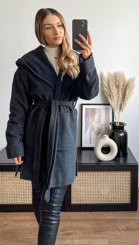 LUCIE BELTED COAT - CHARCOAL