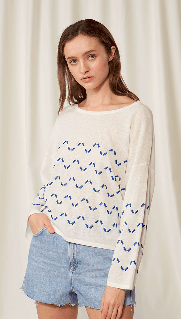 POPPY TOP - BLUE ZIGZAG