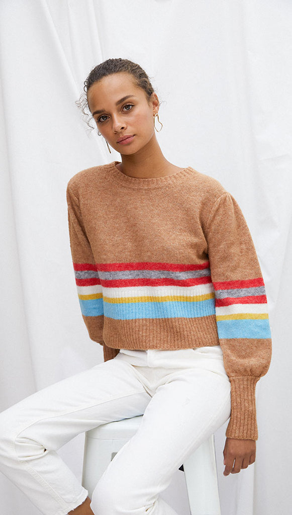 ANGIE SWEATER - CAMEL STRIPE