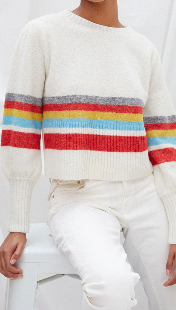 ANGIE SWEATER - IVORY STRIPE