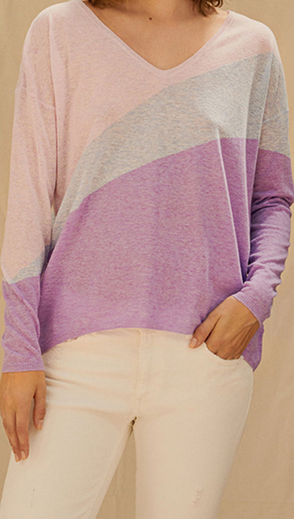 LAVENDER SWEATER - BLUE CLOUD INTARSIA