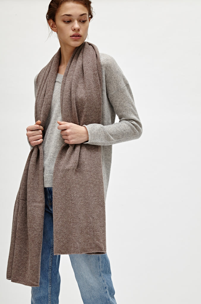 CASHMERE TRAVEL WRAP - MINK