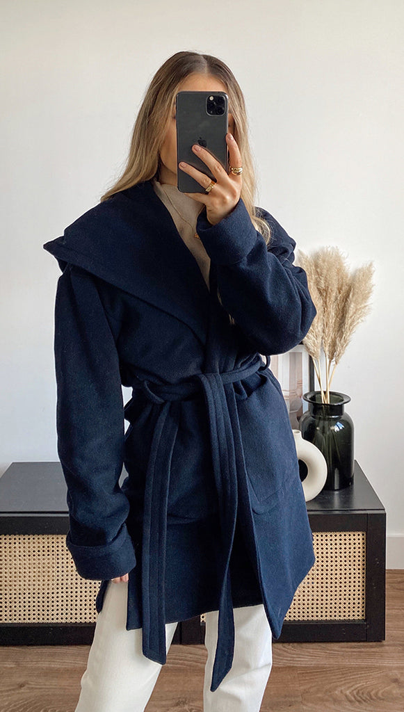 LUCIE BELTED COAT - NAVY