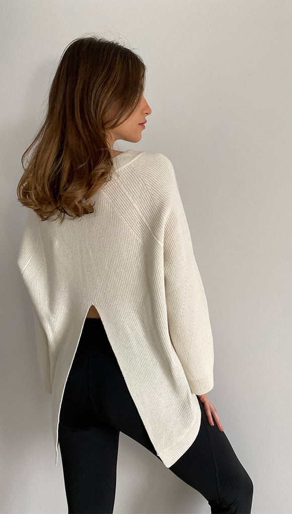 CAMRYN PURE CASHMERE SWEATER - IVORY
