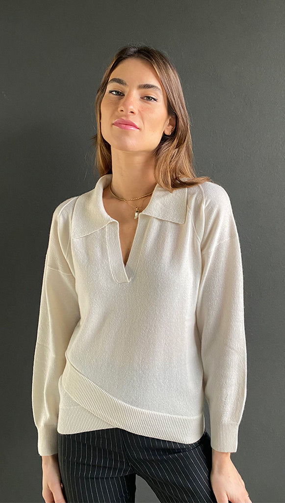 CARNATION PURE CASHMERE SWEATER - IVORY