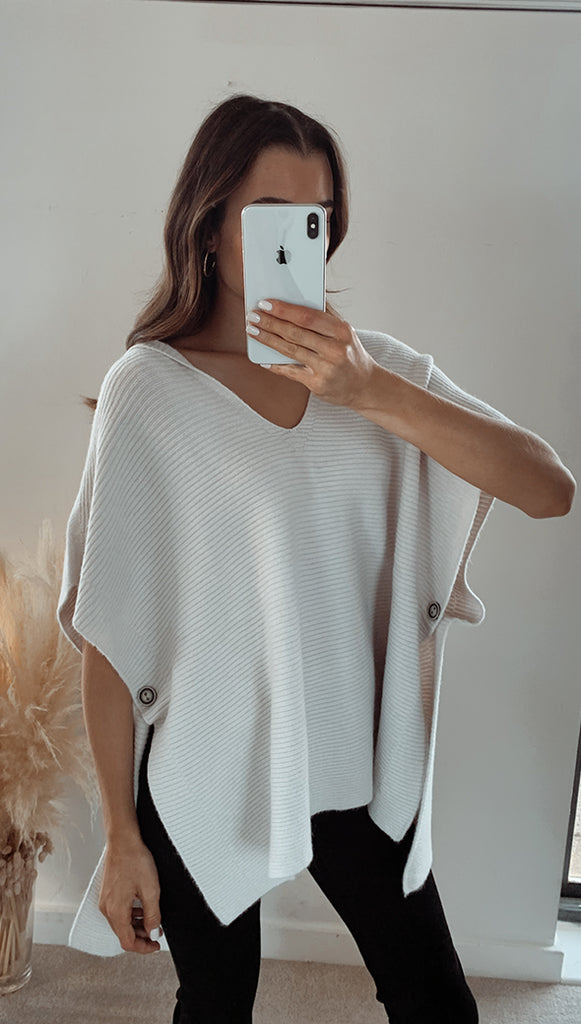 MAYA HOODED PONCHO - IVORY