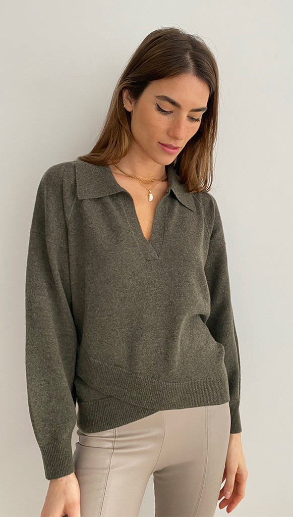 CARNATION PURE CASHMERE SWEATER - MILITARY