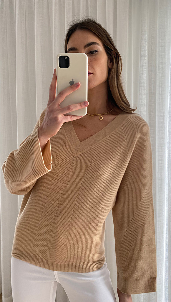 CAMRYN PURE CASHMERE SWEATER - SAND