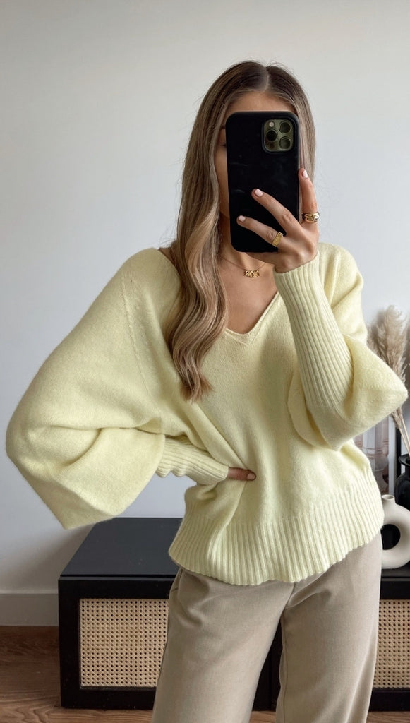 CROPPED SIENA SWEATER - SOFT YELLOW