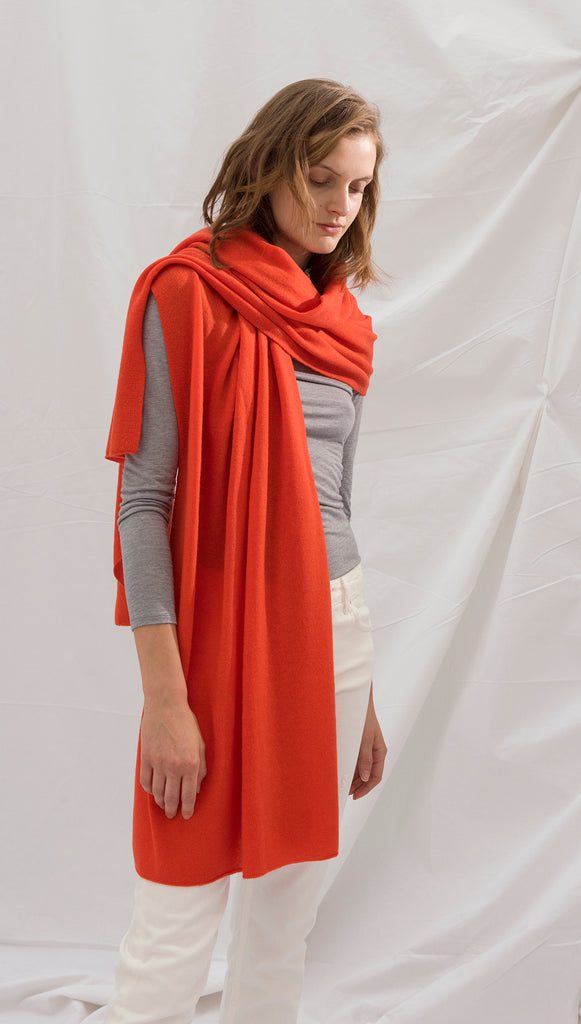 CASHMERE TRAVEL WRAP - TANGERINE