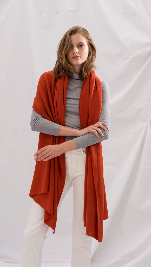 CASHMERE TRAVEL WRAP - RUST