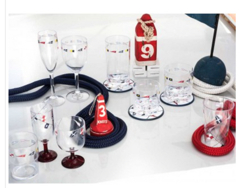 REGATA STACKABLE WINE AND WATER GLASS - RED BASE - Boating Chic