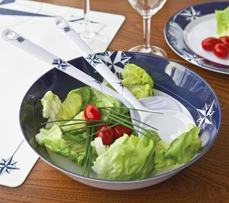 NORTHWIND, MELAMINE SALAD BOWL AND SERVE CUTLERY - Boating Chic